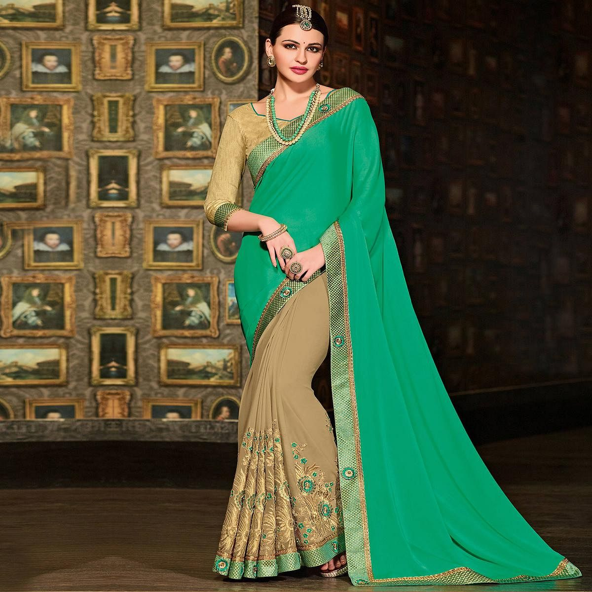 Green-Beige Colored Designer Partywear Embroidered Georgette Saree