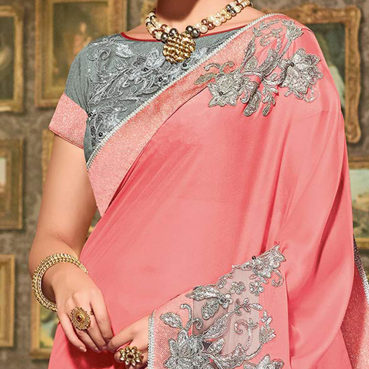 Pink Colored Designer Partywear Embroidered Georgette Saree