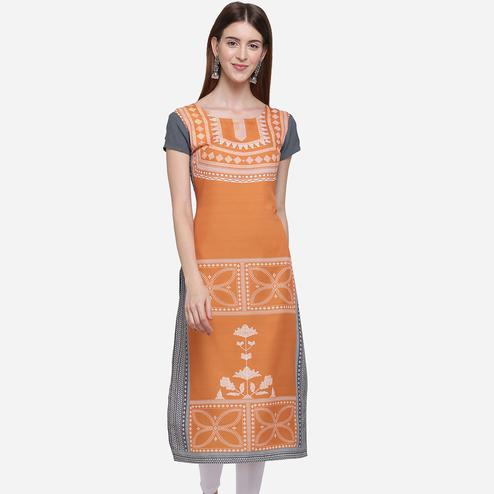 Adorable Orange Colored Casual Wear Printed American Crepe Kurti