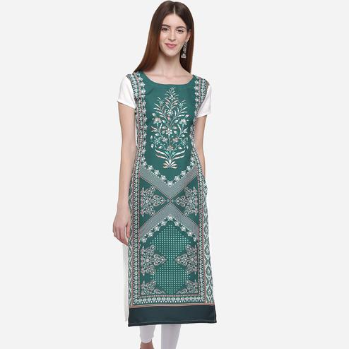 Attractive Green Colored Casual Wear Printed American Crepe Kurti