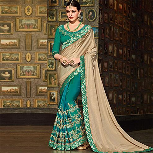 Beige-Green Colored Designer Partywear Embroidered Silk Saree