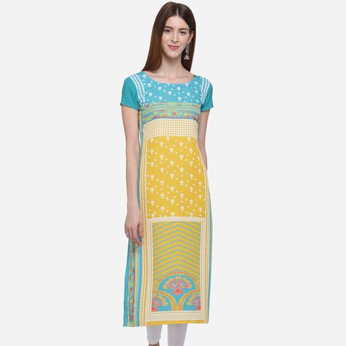 Beautiful Turquoise Blue Colored Casual Wear Printed American Crepe Kurti]
