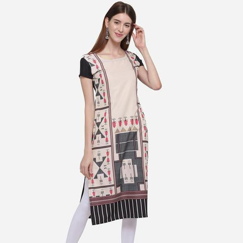 Graceful Cream Colored Casual Wear Printed American Crepe Kurti