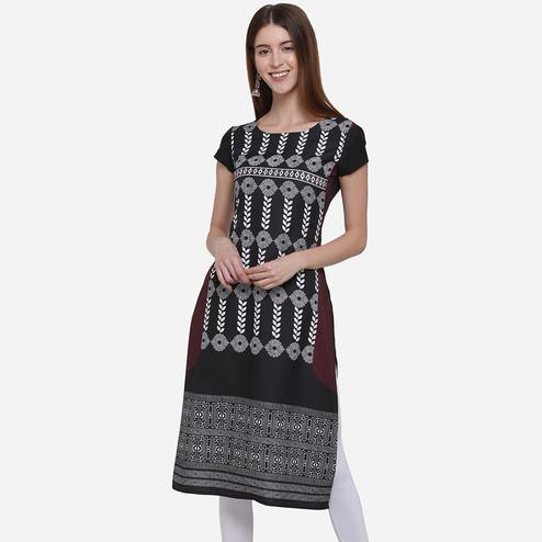 Blooming Black Colored Casual Wear Printed American Crepe Kurti