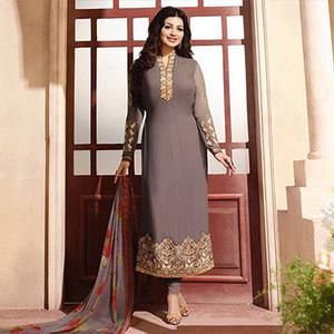 Fawn Embroidered Georgette Suit