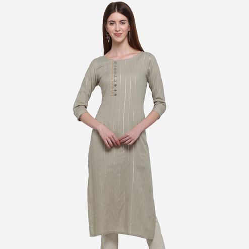 Engrossing Light Grey Colored Casual Wear Printed Cotton Kurti