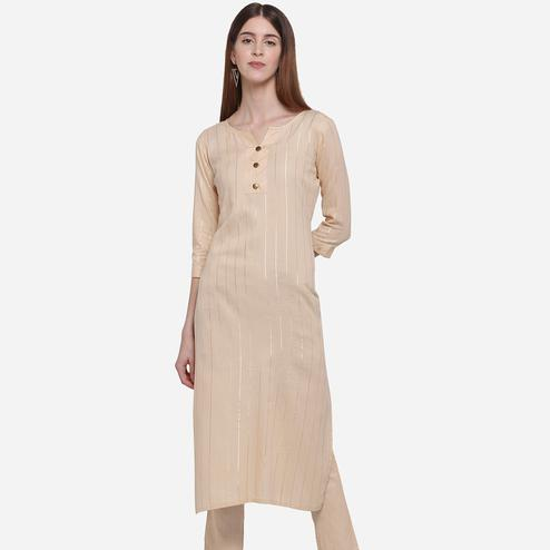 Innovative Pastel Peach Colored Casual Wear Printed Cotton Kurti