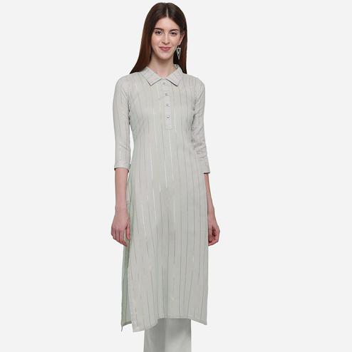 Eye-catching Light Grey Colored Casual Wear Printed Cotton Kurti