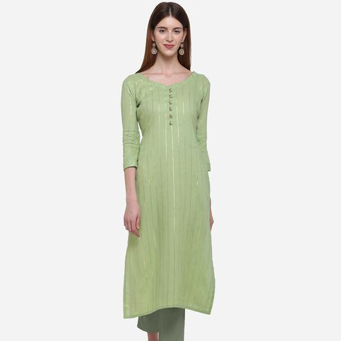 Fantastic Green Colored Casual Wear Printed Cotton Kurti