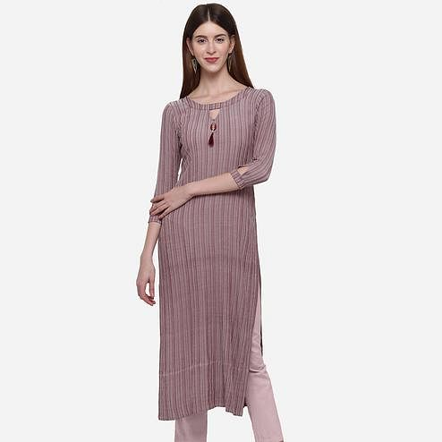 Amazing Mauve Colored Casual Wear Printed Cotton Kurti
