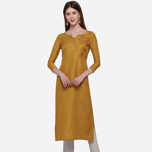 Imposing Mustard Yellow Colored Casual Wear Embroidered Cotton Kurti