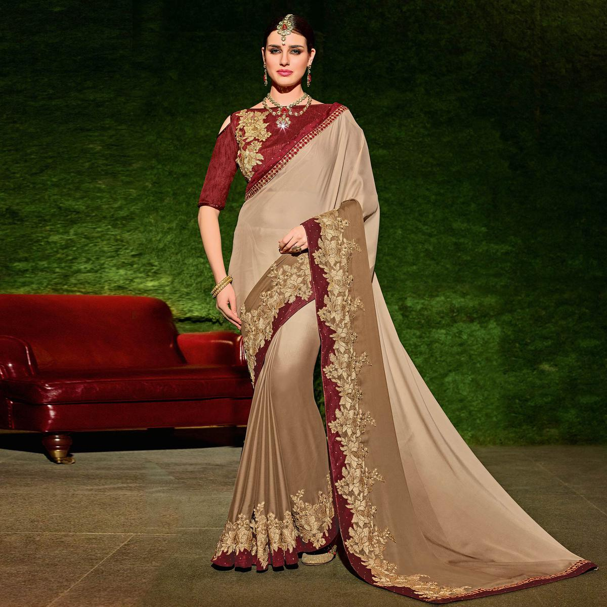 Beige Colored Designer Partywear Embroidered Georgette Saree