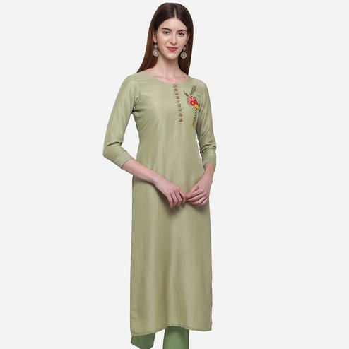 Lovely Olive Green Colored Casual Wear Embroidered Cotton Kurti