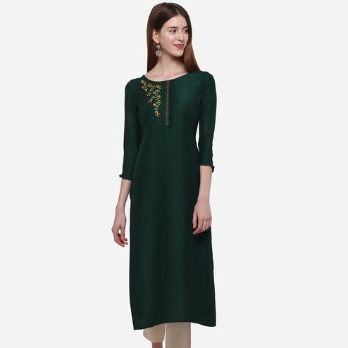 Majesty Dark Green Colored Casual Wear Embroidered Cotton Kurti