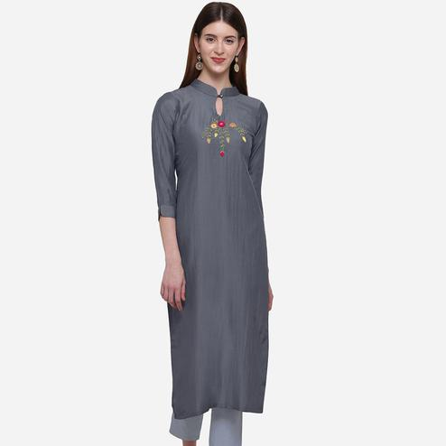 Mesmerising Grey Colored Casual Wear Embroidered Cotton Kurti