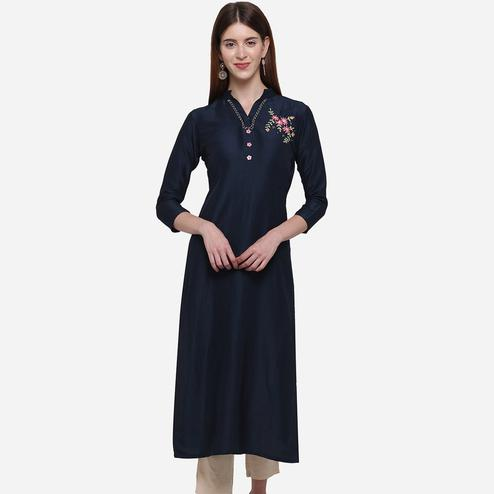 Pleasance Navy Blue Colored Casual Wear Embroidered Cotton Kurti
