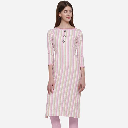 Staring White - Pink Colored Casual Wear Printed Cotton Kurti