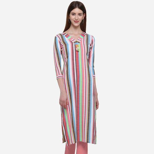 Intricate Multi Colored Casual Wear Stripes Printed Cotton Kurti