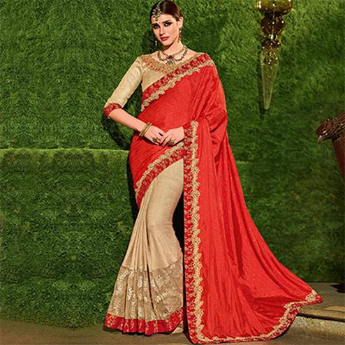 Orangish Red-Beige Colored Designer Partywear Embroidered Silk And Lycra Saree