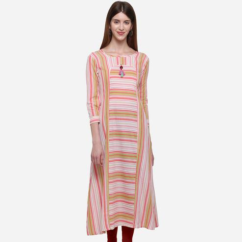 Exotic White - Multi Colored Casual Wear Stripes Printed Cotton Kurti