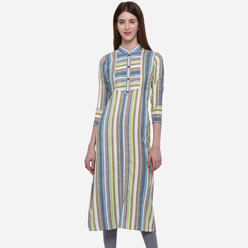 Trendy Grey Colored Colored Casual Wear Stripes Printed Cotton Kurti