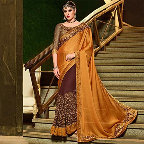 Multi Colored Designer Partywear Embroidered Georgette Saree