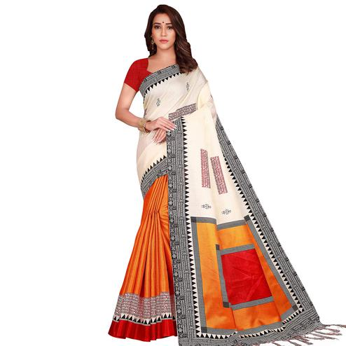 Attractive Cream-Orange Colored Casual Wear Printed Art Silk Saree With Tassels