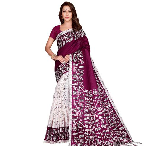 Beautiful Wine-White Colored Casual Wear Printed Art Silk Saree With Tassels