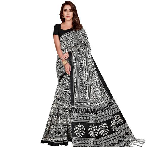 Graceful Black Colored Casual Wear Printed Art Silk Saree With Tassels