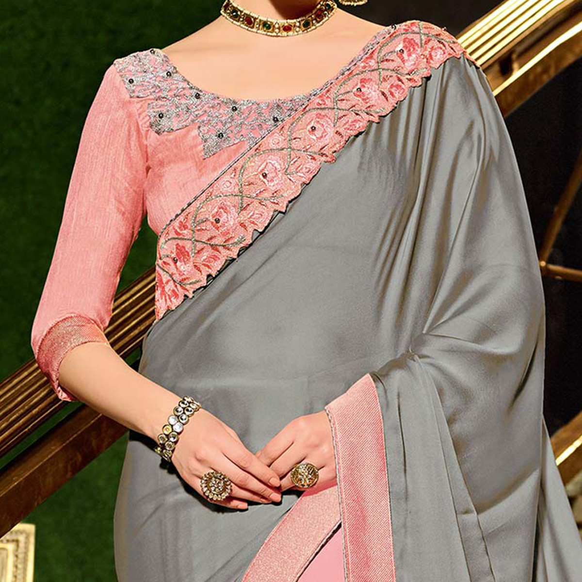 Gray-Pink Colored Designer Partywear Embroidered Georgette And Net Saree