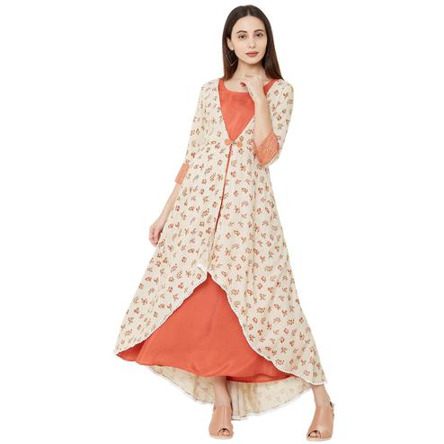 Elegant Cream Colored Casual Wear Floral Printed Cotton Kurti