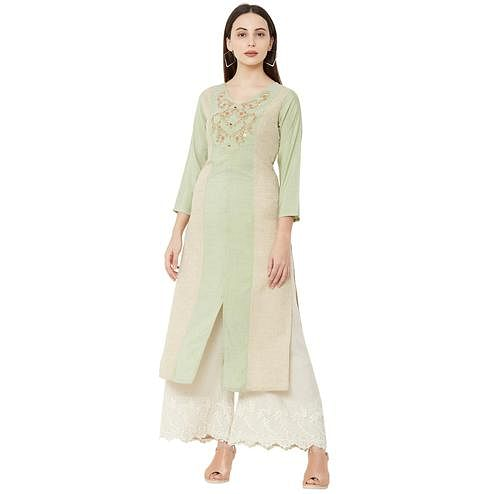 Radiant Light Green Colored Casual Wear Embroidered Cotton Kurti