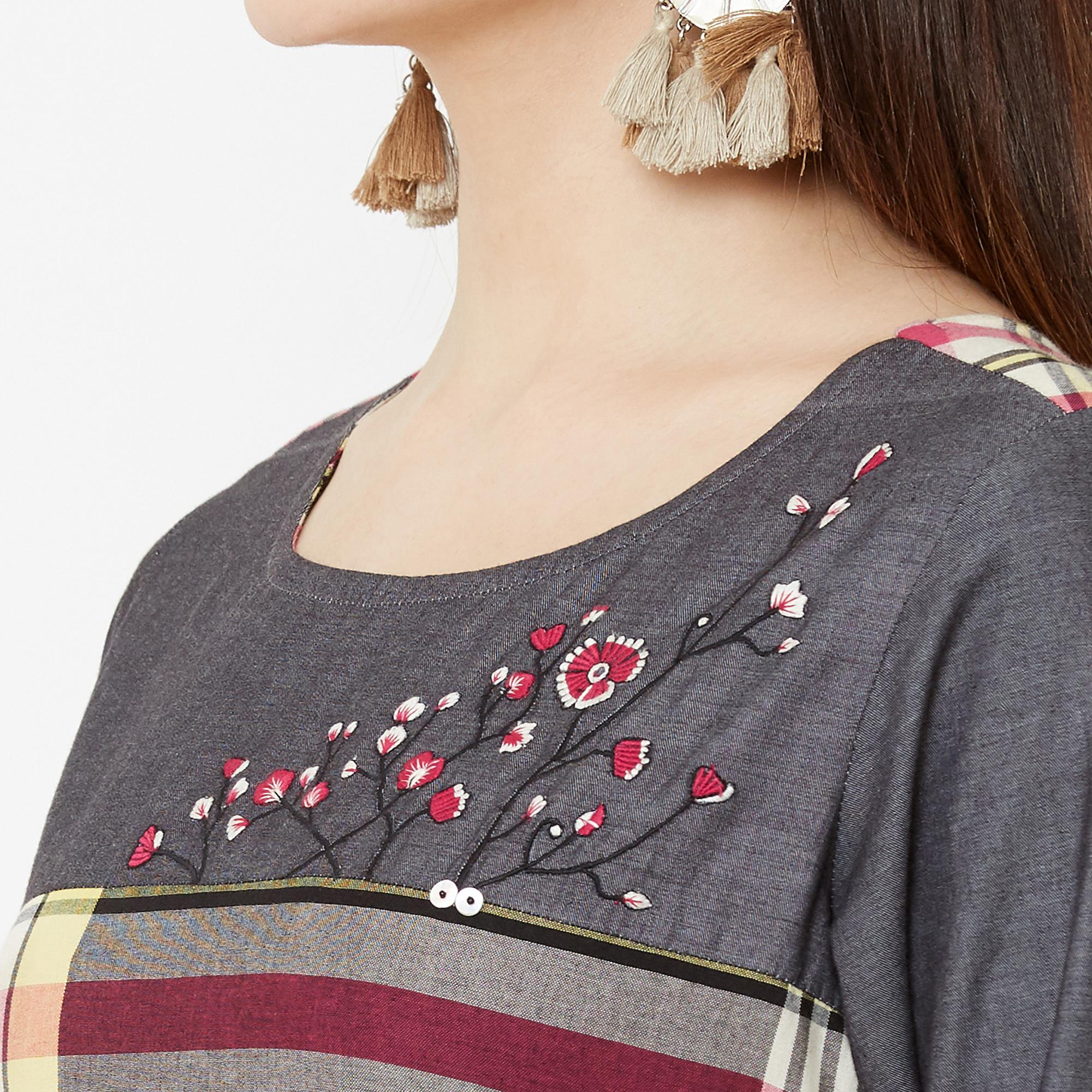 Energetic Multi Colored Casual Wear Embroidered Cotton Kurti