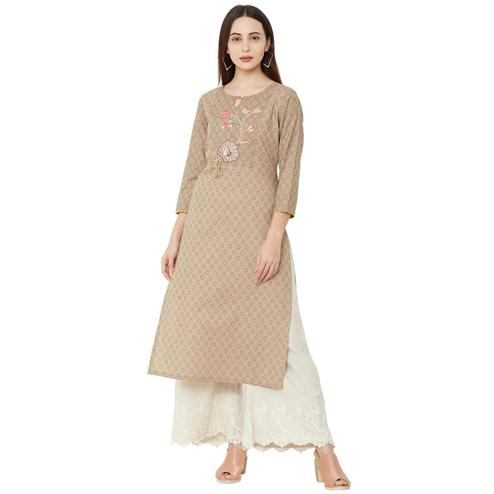 Unique Beige Colored Casual Wear Woven Cotton Kurti