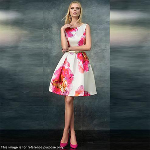 Beautiful White-Pink Digital Printed Partywear Crape Western Dress