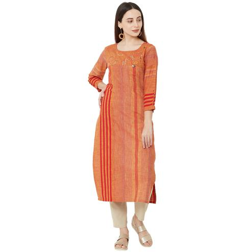 Hypnotic Orange Colored Casual Wear Printed Cotton Kurti