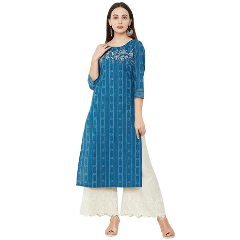 Excellent Blue Colored Casual Wear Printed Cotton Kurti