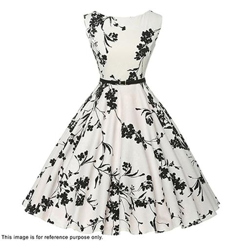 Lovely White-Black Digital Printed Partywear Crape Western Dress
