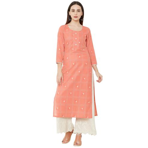 Alluring Pink Colored Casual Wear Printed Cotton Kurti