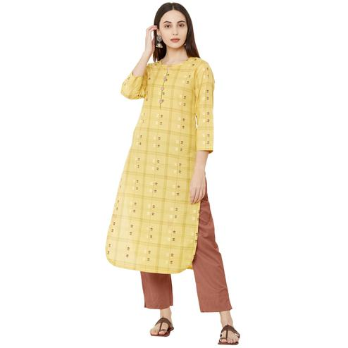 Sensational Yellow Colored Casual Wear Printed Cotton Kurti