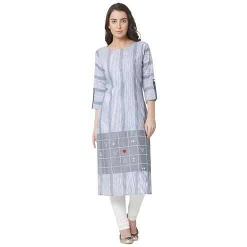 Flirty Grey Colored Casual Wear Printed Cotton Kurti