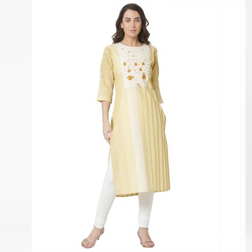 Prominent Yellow Colored Casual Wear Printed Cotton Kurti