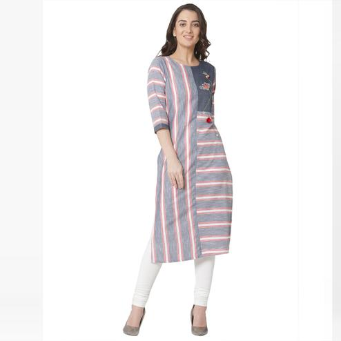 Adorable Grey Colored Casual Wear Printed Cotton Kurti