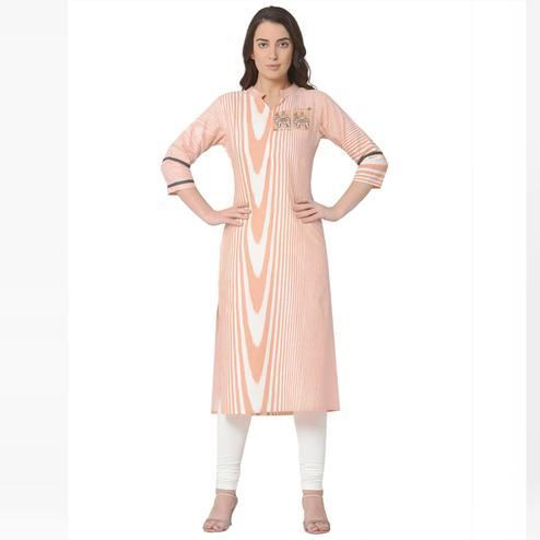 Glorious Peach - Pink Colored Casual Wear Printed Cotton Kurti