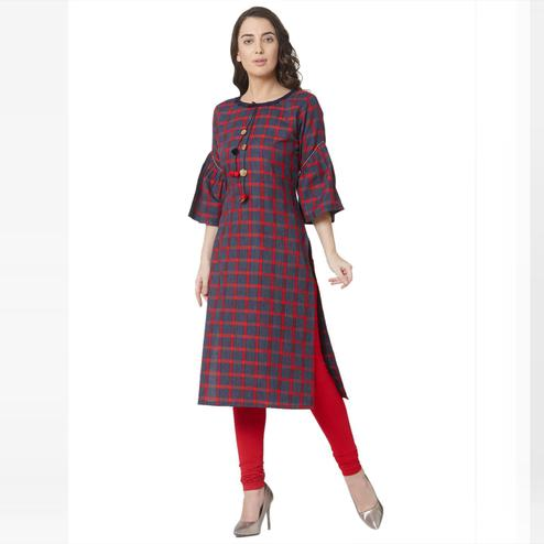 Beautiful Multi Colored Casual Wear Printed Cotton Kurti