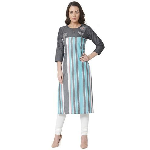 Graceful Multi Colored Casual Wear Printed Cotton Kurti