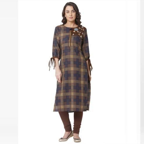 Captivating Brown Colored Casual Wear Printed Cotton Kurti