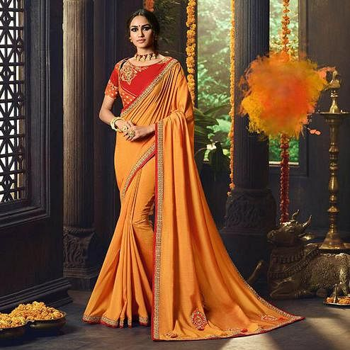 Appealing Mustard Yellow Colored Partywear Embroidered Cotton Silk Saree