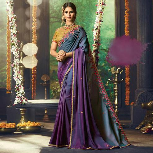 Capricious Purple Colored Partywear Embroidered Silk Saree