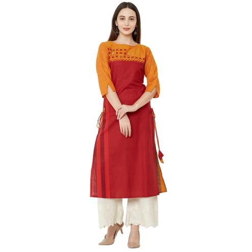 Gorgeous Red Colored Casual Wear Printed Cotton Kurti